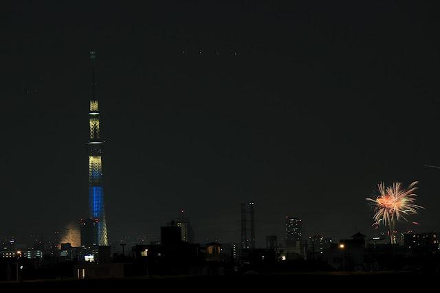 隅田川花火大会(江戸川河川敷から撮影)