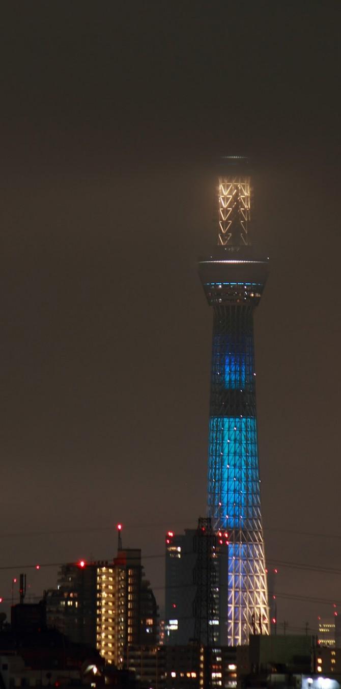 市川から見た七夕限定バージョンの東京スカイツリー