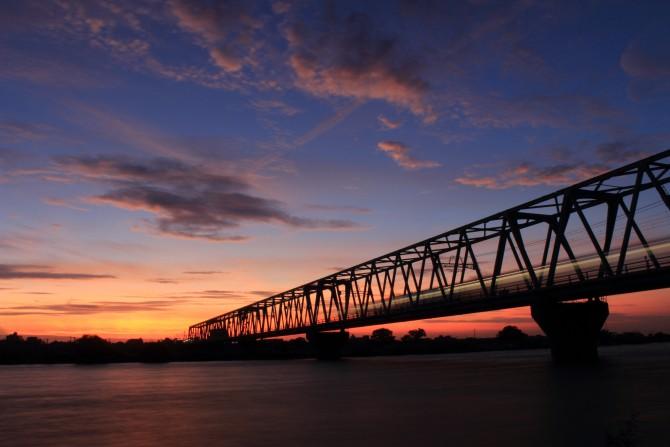 江戸川河川敷から見た夕焼け