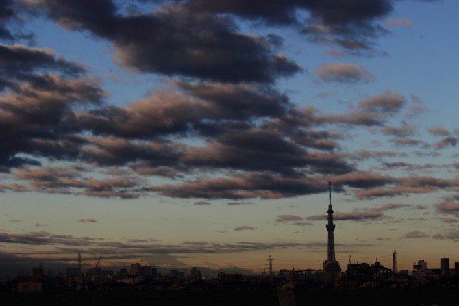 江戸川から見た今朝の空