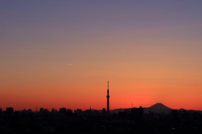 日没後の空 里見公園から