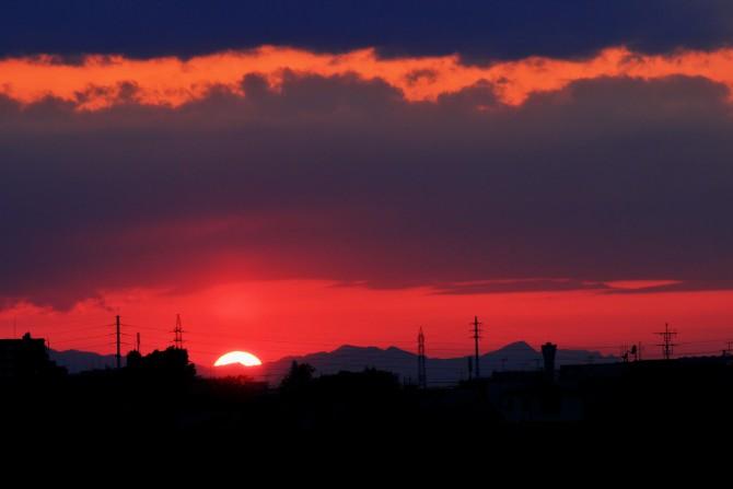 江戸川から撮った夕陽