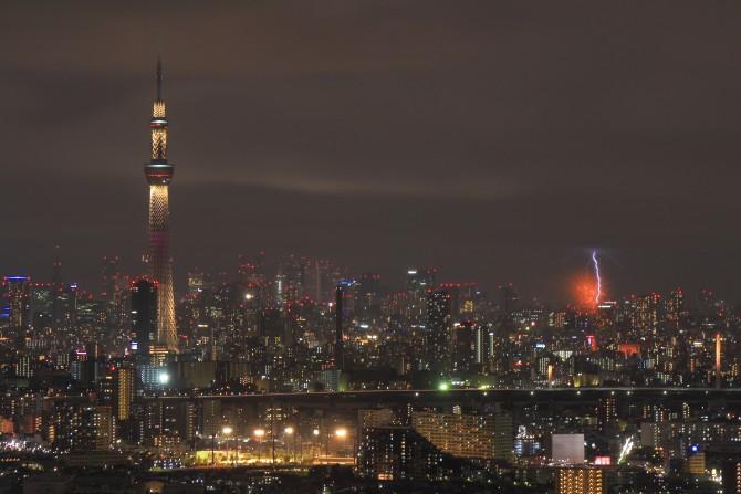 隅田川花火大会 アイ・リンクタウン展望施設より