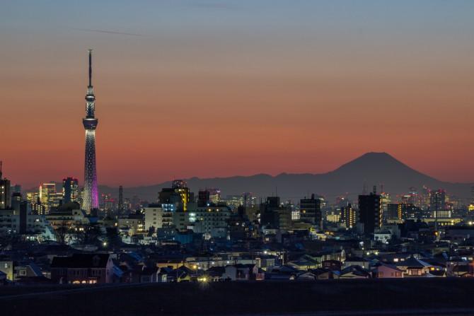東京スカイツリー「冬雅」と富士山 里見公園より