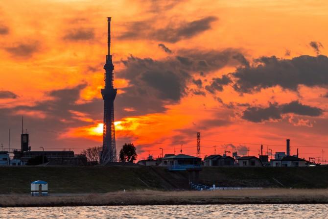 きのうの夕焼け 江戸川のほとりより