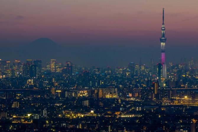東京スカイツリー桜特別ライティング「舞」と富士山のてっぺん