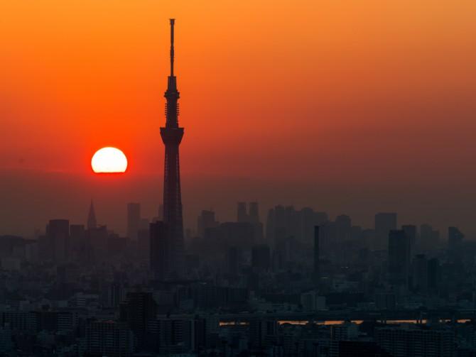 夕陽と東京スカイツリー アイ・リンクタウン展望施設より