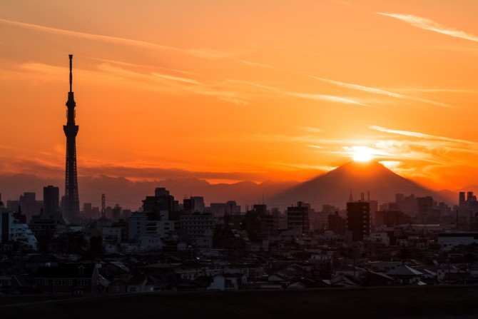 里見公園より ダイヤモンド富士
