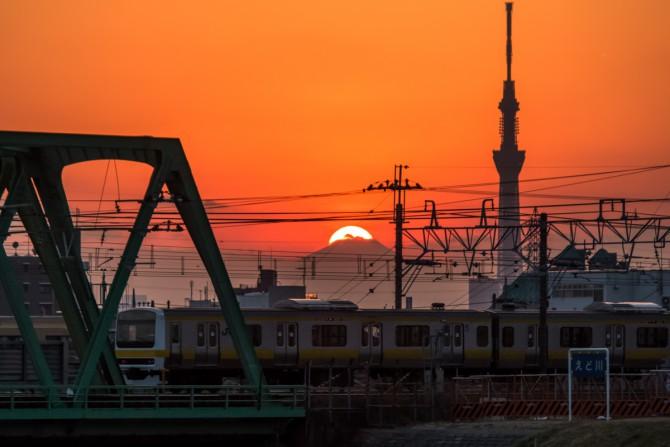 総武線とダイヤモンド富士 市川橋より