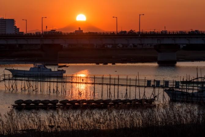 夕陽と富士山と江戸川放水路