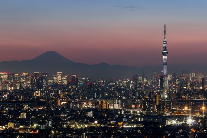 桜特別ライティング「咲」が点灯した東京スカイツリーと富士山  アイ・リンクタウン展望施設より