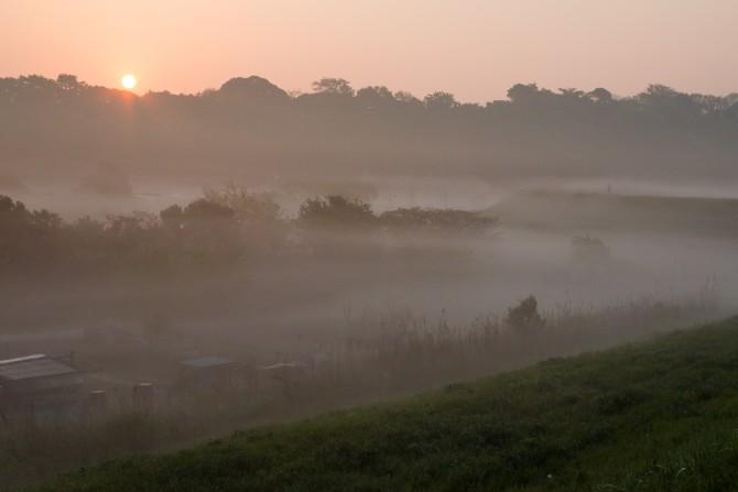 朝陽と朝もや