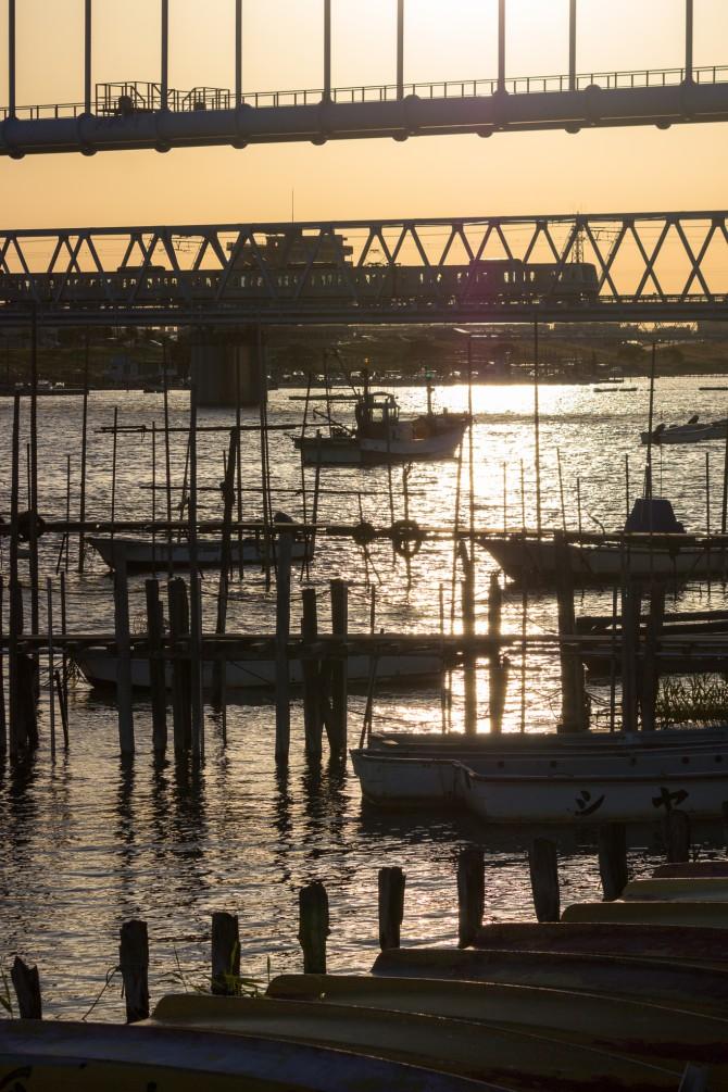 江戸川放水路の夕暮れ