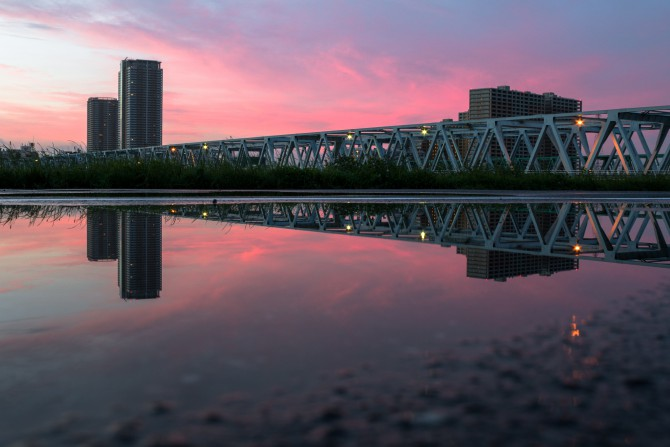 朝焼けと市川橋