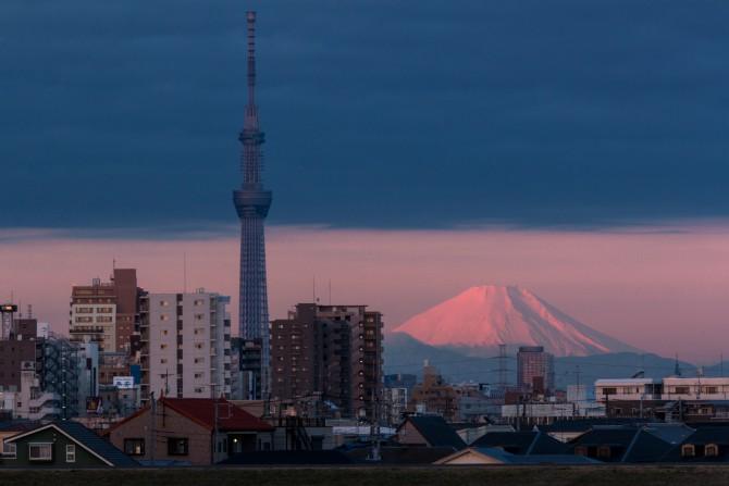 富士山と東京スカイツリー