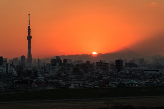 夕陽と富士山とスカイツリー