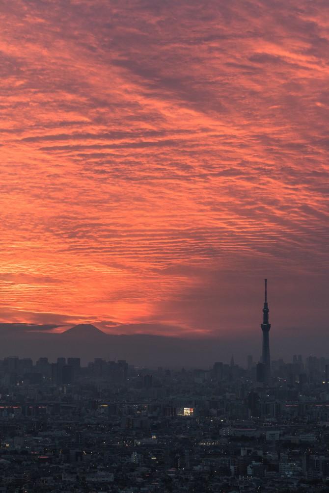 夕焼け雲と