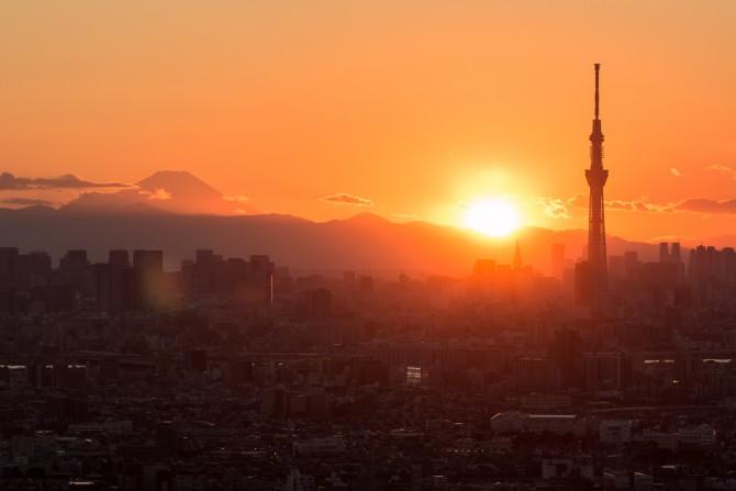 夕陽と富士山とスカイツリー アイ・リンクタウン展望施設より