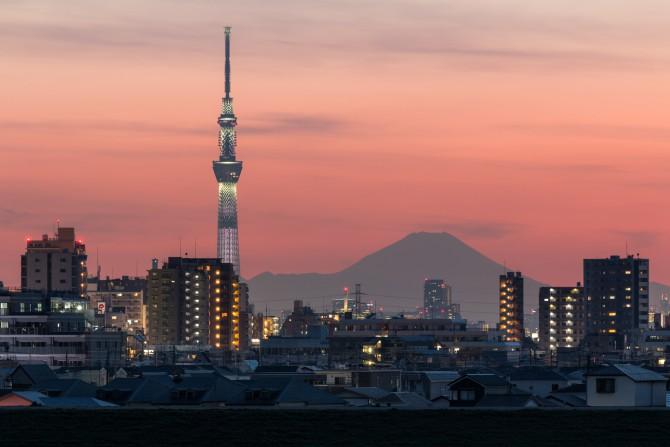 """富士山と桜特別ライティング""""咲""""点灯中の東京スカイツリー"""