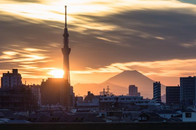 夕陽と富士山と
