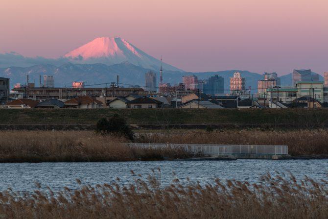 富士山と冬の江戸川