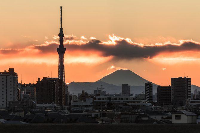 「二重富士」 江戸川より