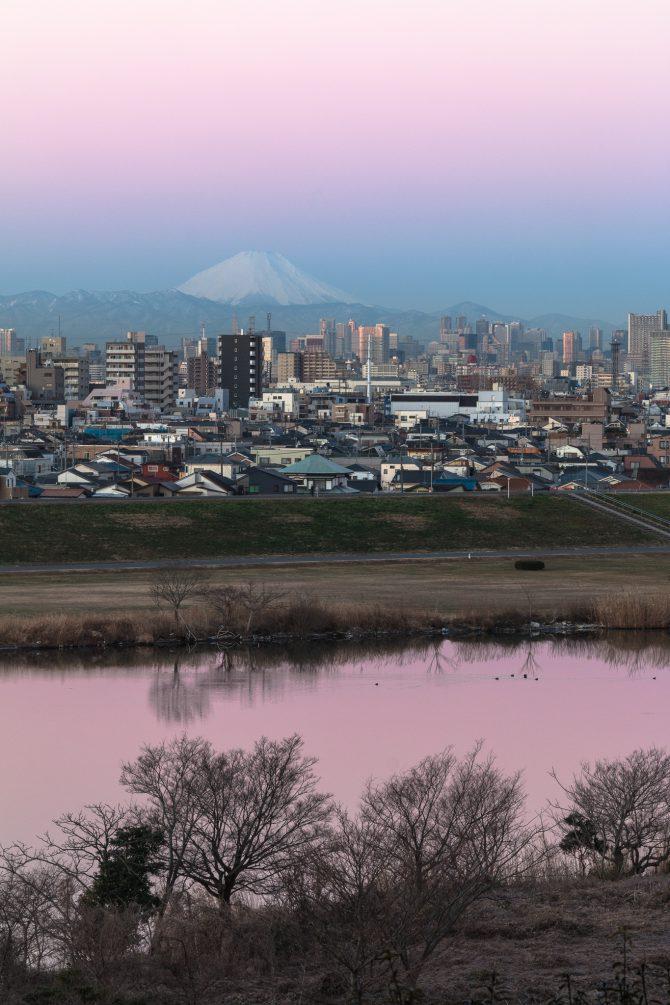 「桃色に染まる空と江戸川」 里見公園より