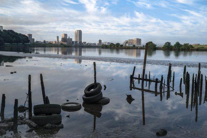 水位の低い江戸川