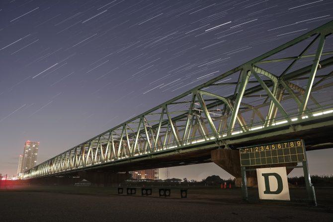 星の軌跡と総武線江戸川橋梁