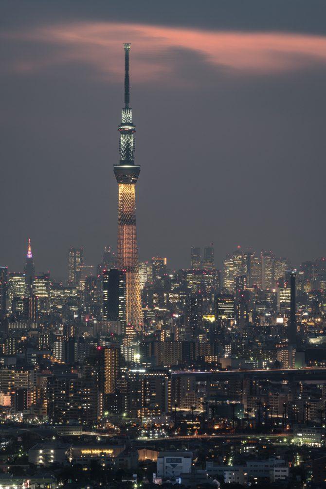 金色のスカイツリーと東京