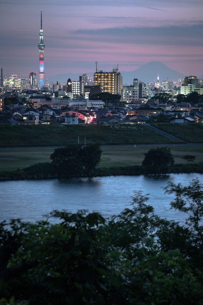 江戸川と富士山、スカイツリー