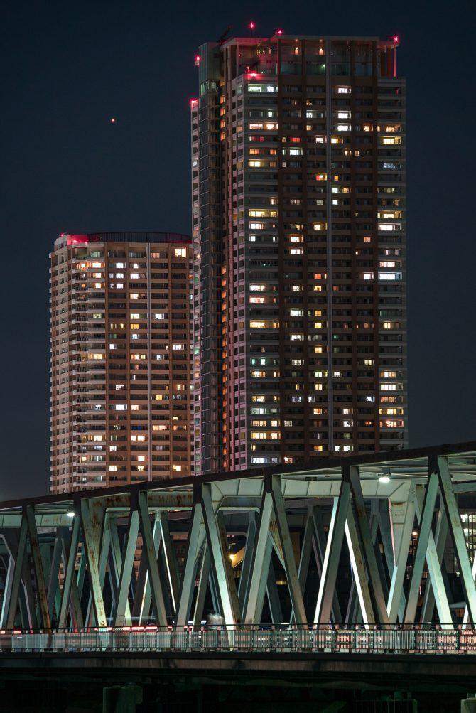 日没後の市川駅方面と火星
