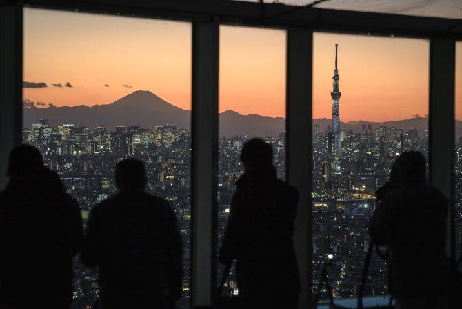 夕暮れの富士山とスカイツリー