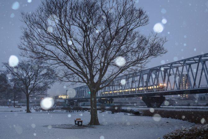 雪の江戸川河川敷と京成線