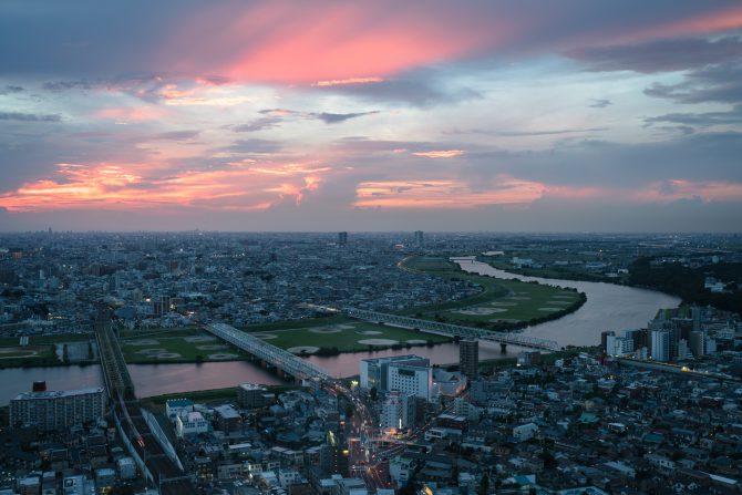 江戸川と夕焼け