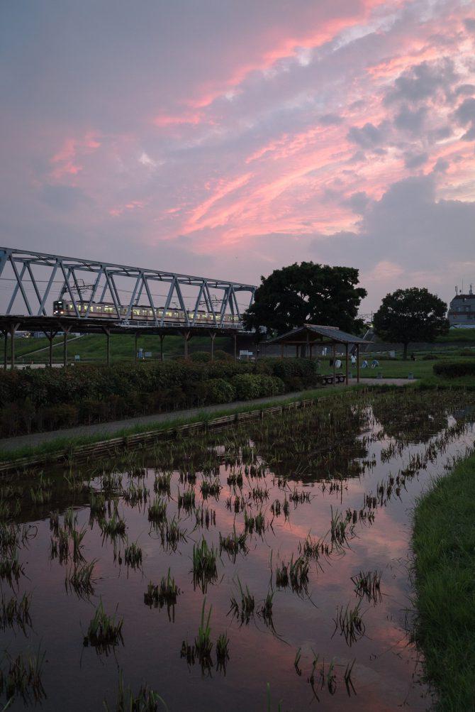 夕焼け空と京成線