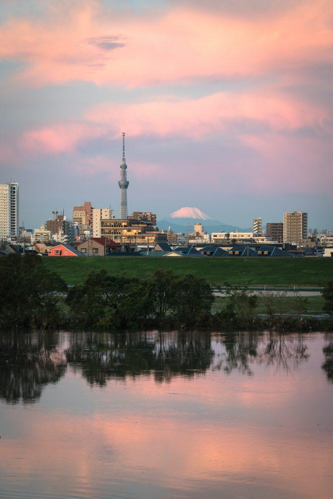 朝焼けの江戸川と富士山、スカイツリー