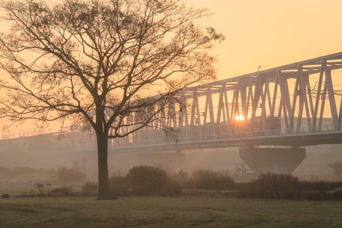 朝もやの江戸川と京成線