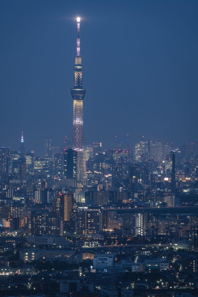 青く染まる東京の街並みとスカイツリー