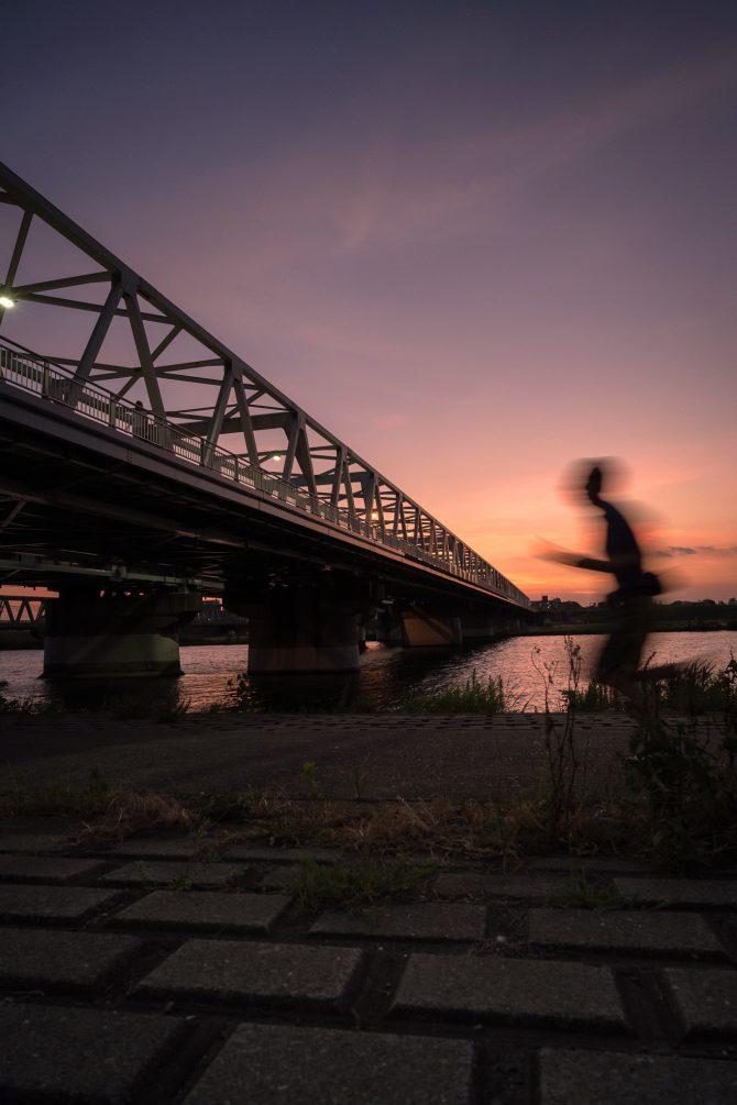 夕焼け空と市川橋