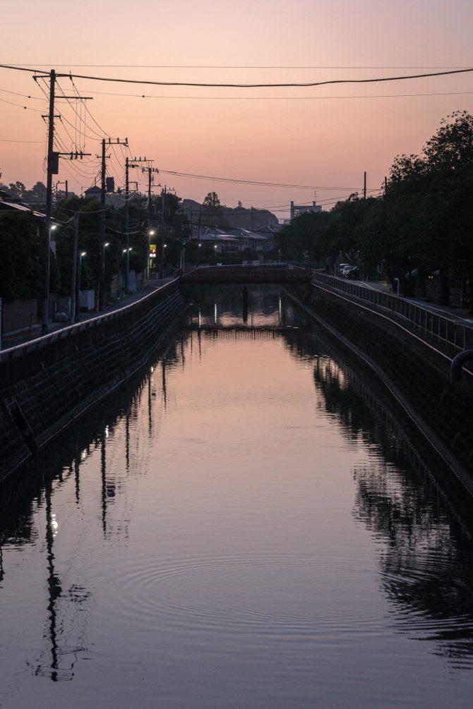 夜明け前の真間川