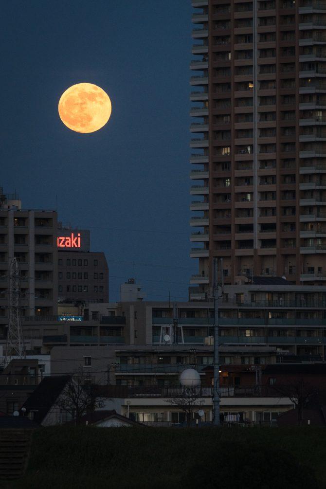 満月と市川駅周辺の街並み